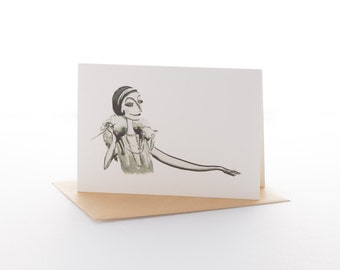 """Greetings card: """"Foxy lady"""" Size A6 with envelope"""