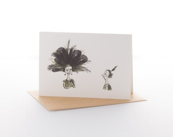 """Greetings card: """"Feather envy"""" Size A6 with envelope"""
