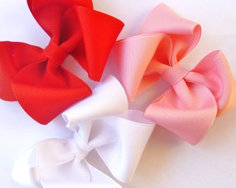 set of 3 valentines day hair bows-red white light pink--perfect accessories for babies toddlers and big girl