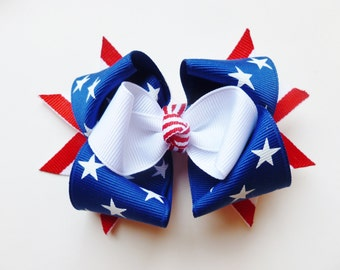 4th of july hair bows-- red white and blue patriotic accessories for baby toddler big girls