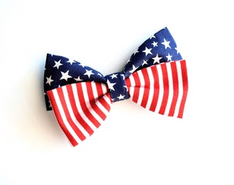 Fabric 4th of july hair bows-- red white and blue patriotic accessories- stars and stripes- July fourth usa