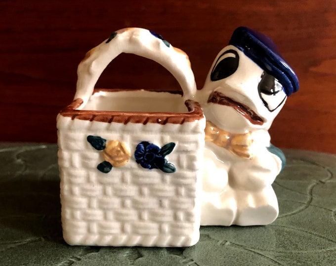 Ceramic Porcelain Duck With Basket Wall Pocket Made In Occupied Japan Kitsch Collectable Child Baby Decor Display