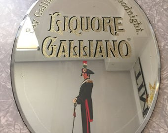 "Liquore Galliano Mirror Italy Tuscany Sicilain Giuseppe Galliano Soldier Sign ""Say Galliano instead of goodnight"" Liquor Advertising"