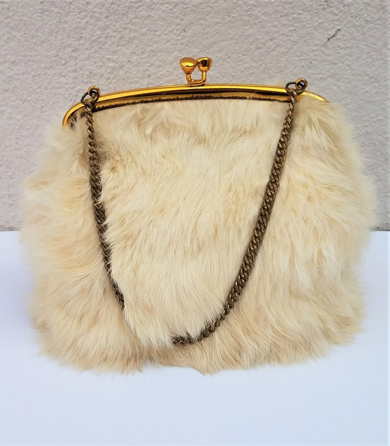 vintage 60s real fur purse