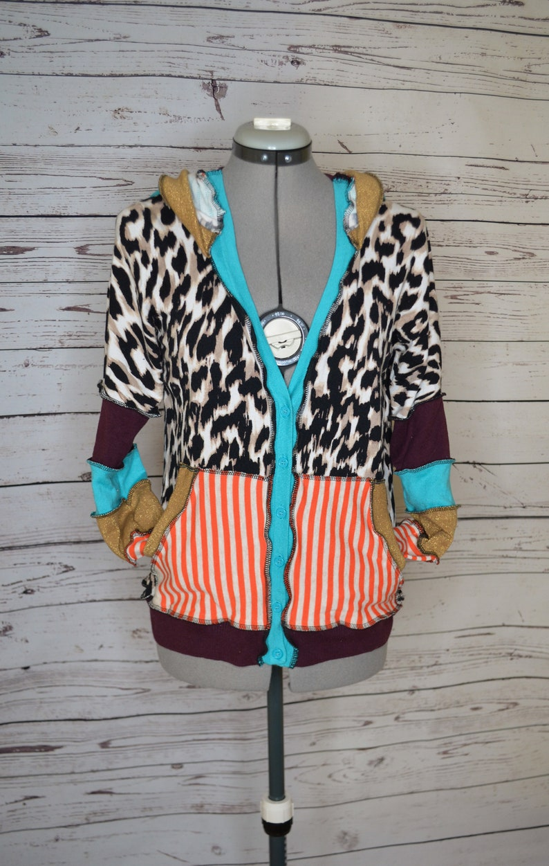 Leopard print and orange stripes upcycled button up cardigan