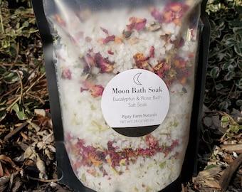 MOON BATH SALTS- Large Eucalyptus Rose Bath Soak, Spiritual Bath Salts, Herbs, Vegan Natural, Self Love, Friend Gift, Aura Cleansing Bath