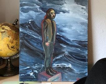 "Original Ocean Oil Painting Figurative Art Blue Waves Contemporary Home Decor 14x11 Canvas ""Adrift"" 2017"
