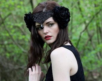 Halloween Black swan velvet flower headpiece, velvet rose crown, bridal beaded headdress