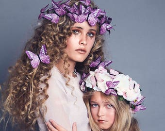 Purple woodland butterfly crown and hair clips. Butterfly tiara.