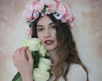 Luxe pastel butterfly flower crown, flower garland, Lana Del Ray, Wedding headpiece, nature inspired, vintage inspired, rustic rose, love.