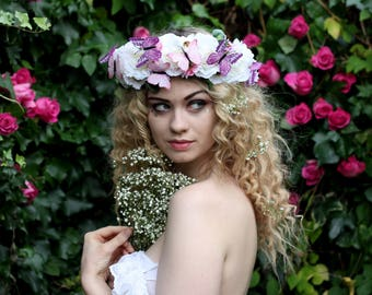 White flower crown, butterfly flower garland, Lana Del Ray, Wedding headpiece, nature inspired, vintage inspired, rustic rose, love.