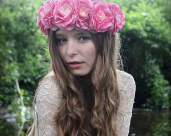 Pink flower crown, floral garland, Lana Del Ray, Wedding headpiece, nature inspired, vintage inspired, rustic rose, love.