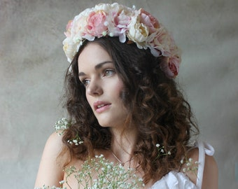 Pink and cream flower crown, floral garland, Lana Del Ray, Wedding headpiece, nature inspired, vintage inspired, rustic rose, love.