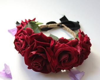 Deep red flower crown, floral headpiece