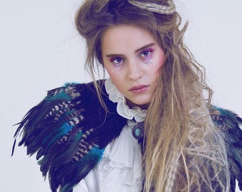 Halloween Black, teal and natural feather shrug, steampunk cape, feathered capulet