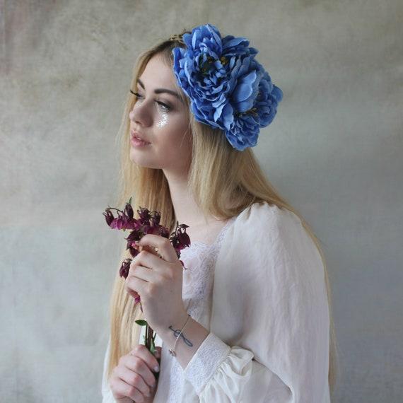 Large blue flower crown flower garland peony wedding  75fff03a496