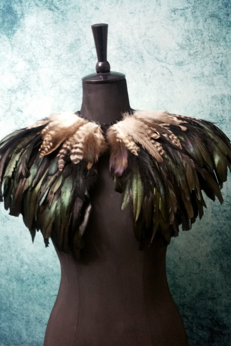 Black and natural feather shrug feathered capulet steampunk cape
