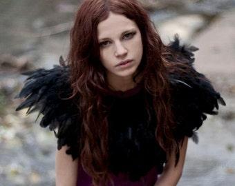 Halloween Black feather shrug, wedding cape, feathered capulet