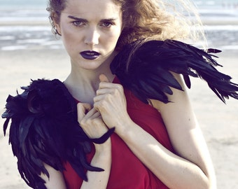 Halloween Black feather wings,  iridescent feather epaulette shoulder pieces, black wings, feather shoulders