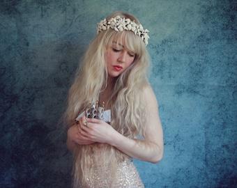 White sea star mermaid shell crown