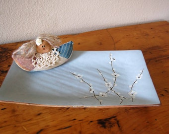 Vintage Japanese Cherry Blossom Platter Vintage Pottery Platter from The Eclectic Interior
