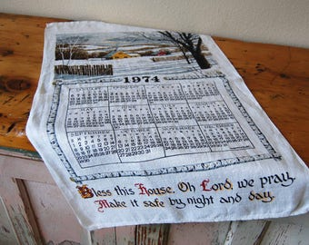 Vintage 1974 Kitchen Towel Linen Kitchen Towel Vintage Calendar Kitchen Towel Tea Towel Prayer Towel from The Eclectic Interior