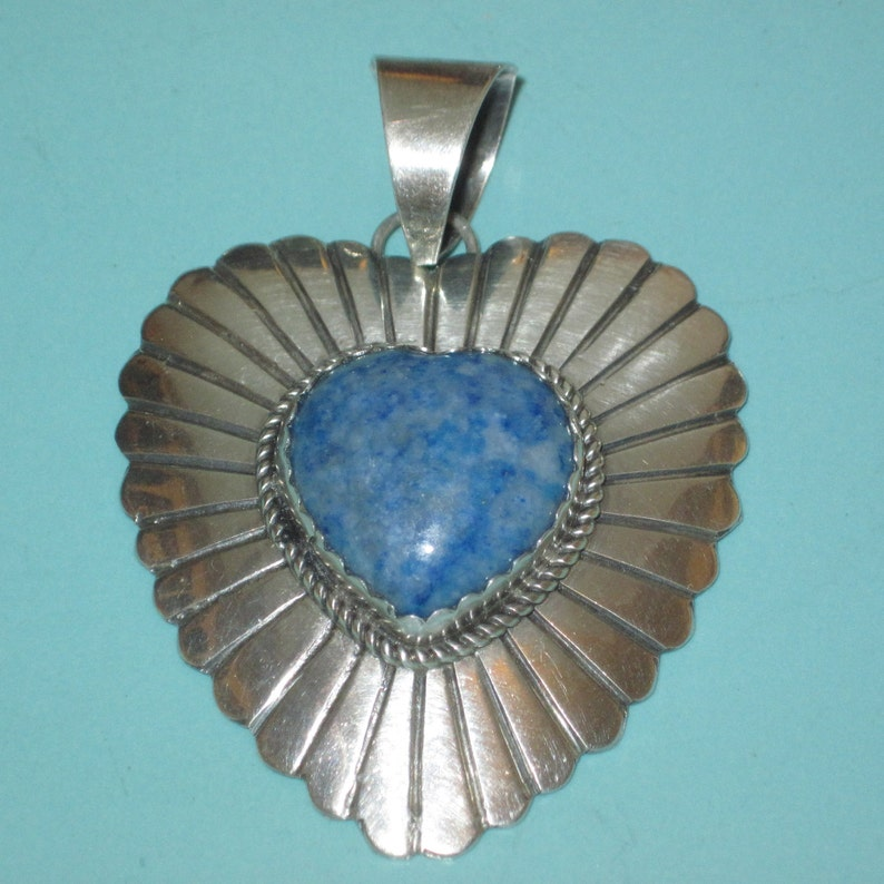 Navajo signed Marcella James LARGE 925 Sterling Silver 2 38 LAPIS HEART Pendant  20.5g