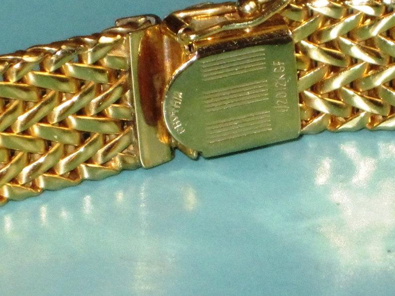 Vintage Handmade signed Rhythm 1970s 12K GF Hinged ID Bracelet