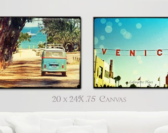 Surf Art, Canvas Wall Art, Retro Beach Art, Surfer Wall Art, California Beach Home Decor, VW Bus, Venice Beach Canvas Set