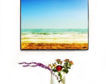 Beach Decor Wall Art, Ocean Canvas Wall Art, Abstract Ocean Canvas Large, Beach Photography Wall Art