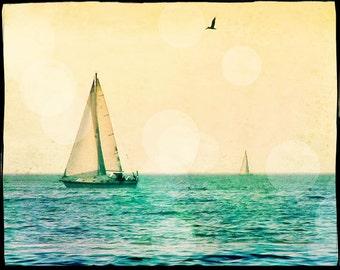 Sailing Photography, Sailboat Wall Art Print, Sailing Art Print, Vintage Style, Retro Beach Art, Ocean Art, Nautical Decor. Mens Gift