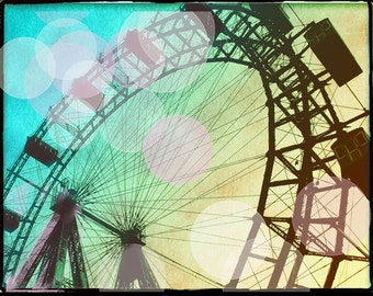 Ferris Wheel Photography Art Print, Ferris Wheel Photography Large Art, Bokeh, Carnival Art, Vienna Ferris Wheel