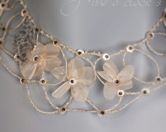 Fairy garden wedding necklace. Bohemian floral beaded necklace Ivory rose layered chic necklace White Queen Necklace