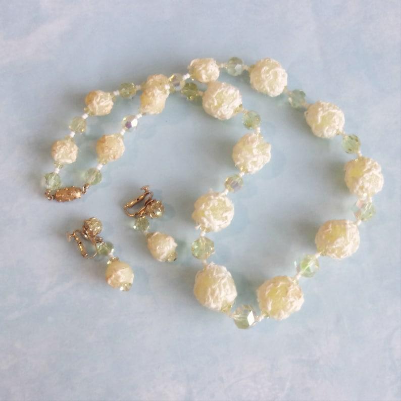 jewelry set necklace earrings lemon drop beads crystals Vendome Coro