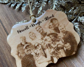BIG family Holiday Ornament | Christmas Tree| Wedding Gift | Family gift | Picture Ornament
