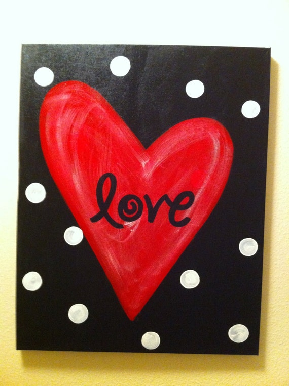 "Items similar to Red Heart ""Love"" Canvas on Etsy"