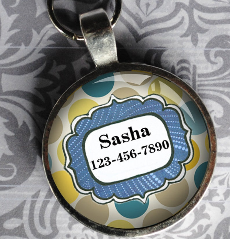 Pet iD Tag blue and yellow polka dotted colorful round Dog Tag image 0