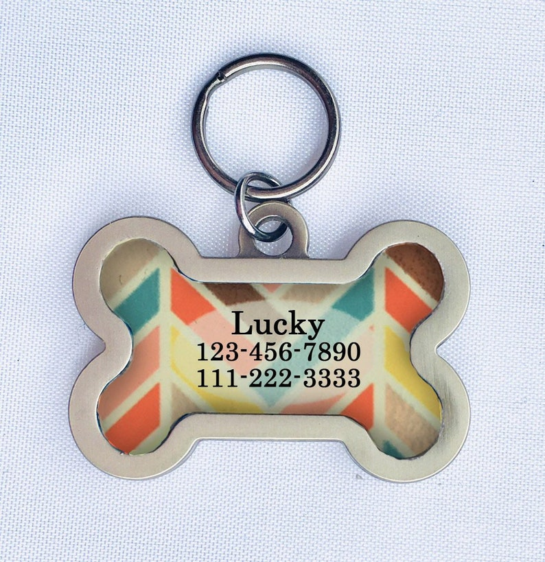 Bone Shaped Pet ID Tag for Medium to Large Dogs Red & Green image 0