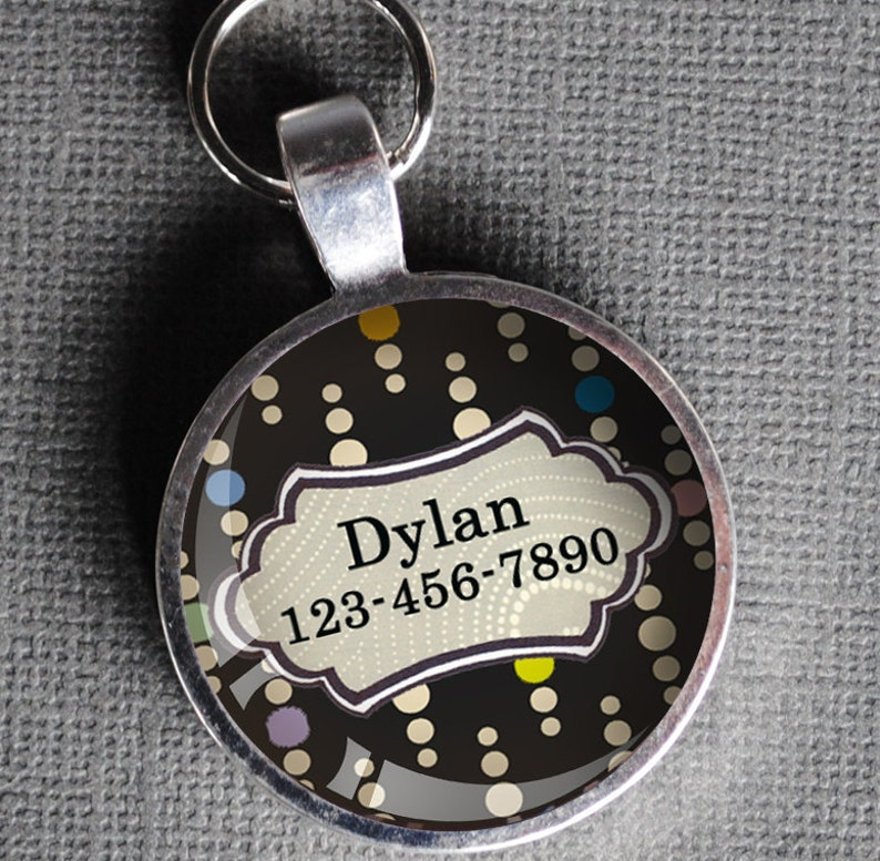 Multi-color white and black dotted Pet iD Tag colorful round image 0