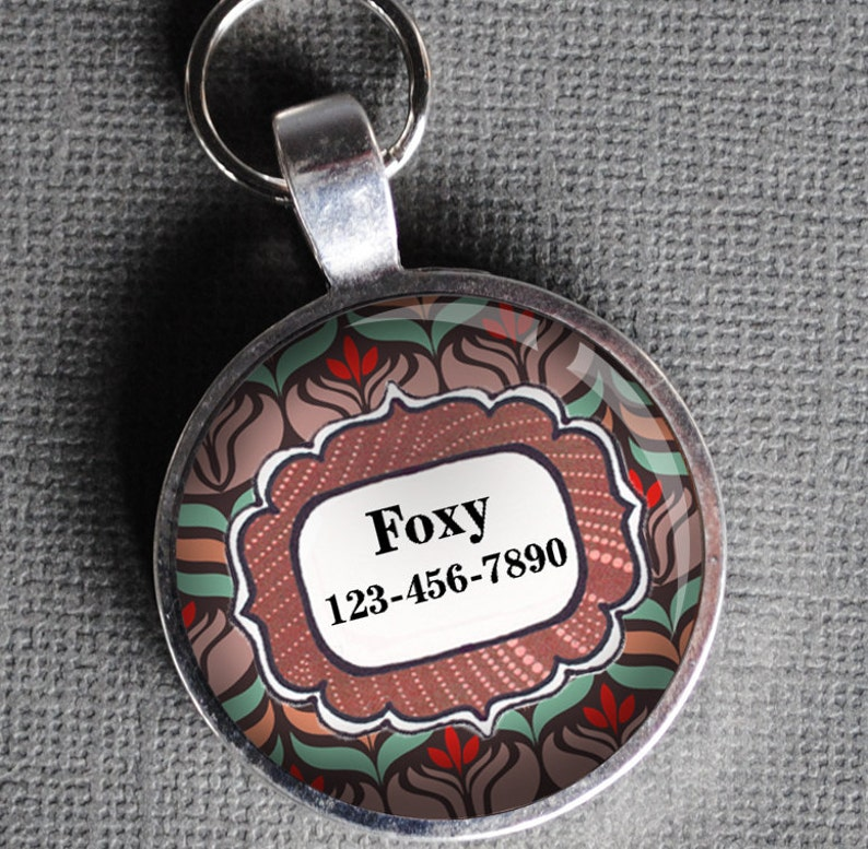 Pet iD Tag red and brown floral round Dog Tag Cat Tag by image 0