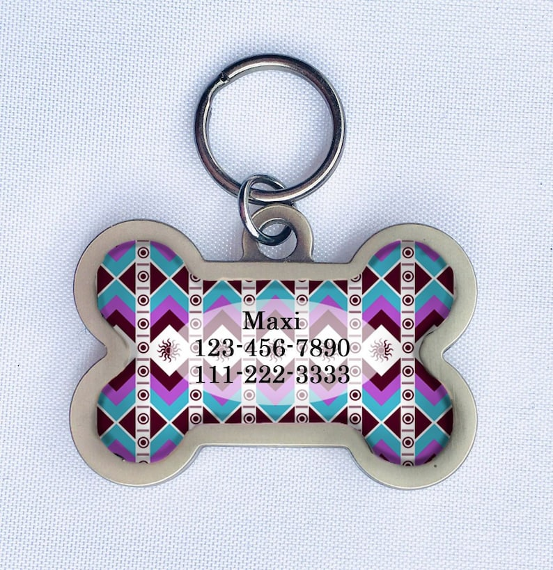 Bone Shaped Pet ID Tag for Medium to Large Dogs Blue image 0