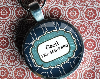 Pet iD Tag  blue patterned colorful round Dog Tag 35mm round -  by California Mutts dog tags