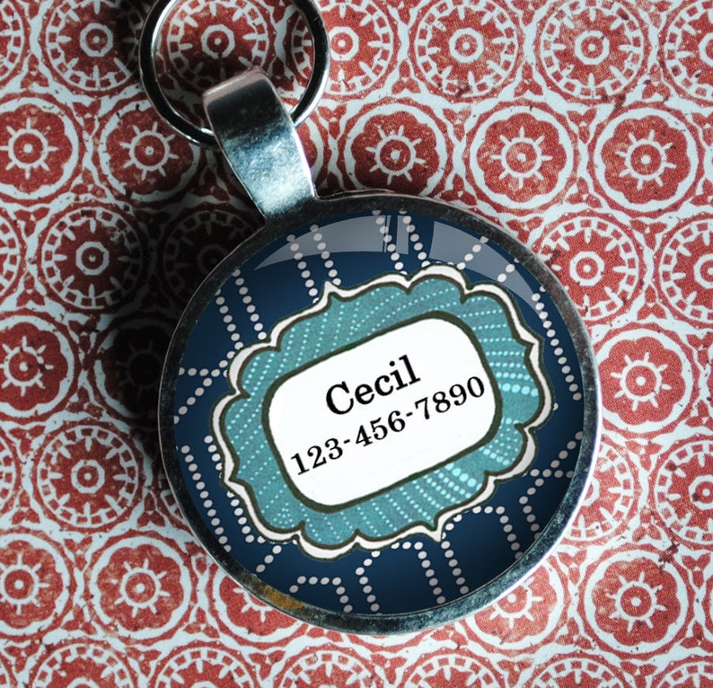 Pet iD Tag  blue patterned colorful round Dog Tag 35mm round  image 0