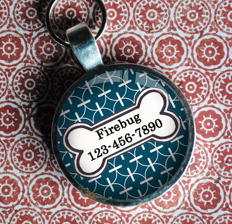 Pet iD Tag deep marine blue patterned colorful round Dog Tag image 0