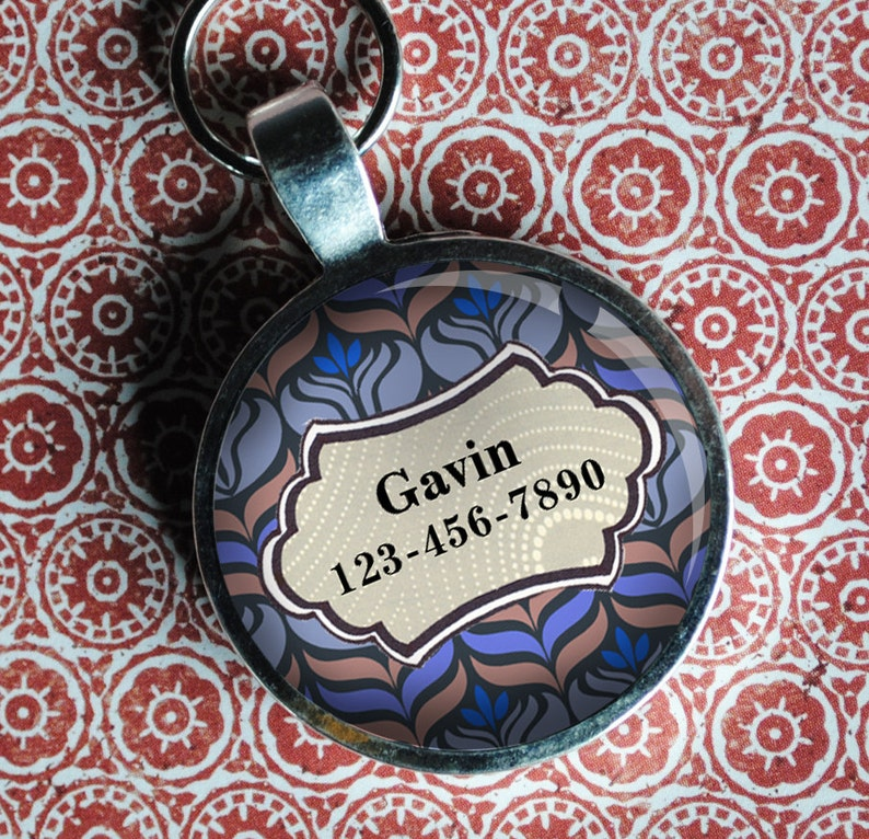Pet iD Tag light blue and pink art deco colorful round Dog Tag image 0