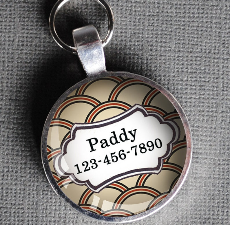 Red and cream patterned Pet iD Tag colorful round Dog Tag 35mm image 0