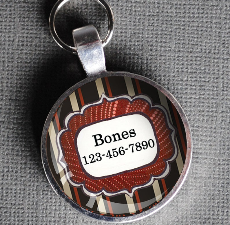 Red white and black striped Pet iD Tag colorful round Dog Tag image 0