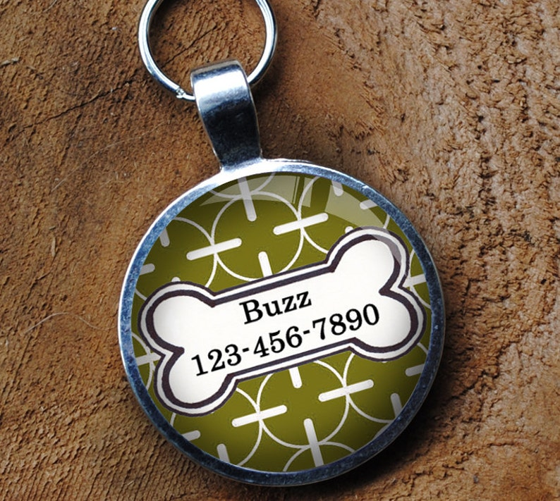 Pet iD Tag bright green and white patterned colorful round Dog image 0
