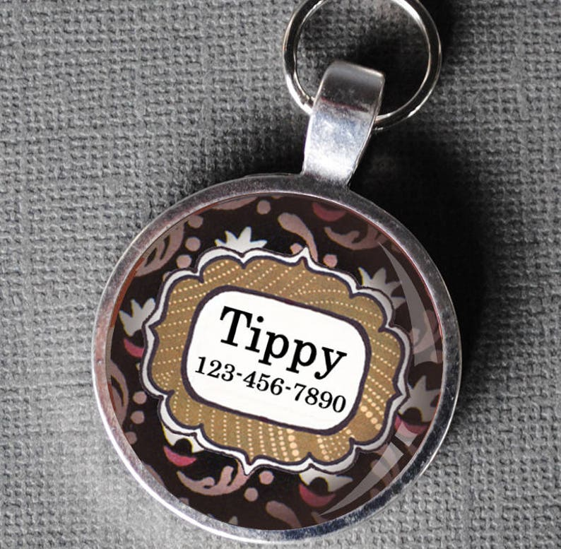 Pet iD Tag floral and black polka dot colorful round Dog Tag image 0