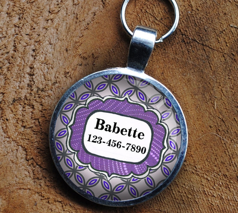 Pet iD Tag lavender and purple patterned colorful round Dog image 0